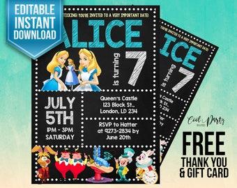 Alice in Wonderland invitation, Alice in Wonderland birthday invitation, Alice invitation, Alice printable, Alice birthday party, Tea Party