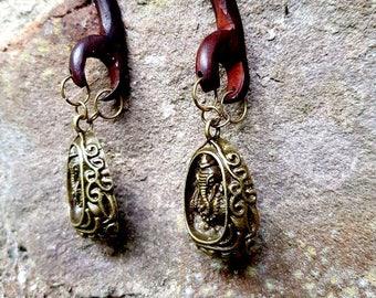 Ear Weights 'Tribe' Ganesha, wooden OOAK