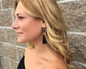 Black and gold bead black tassel earrings