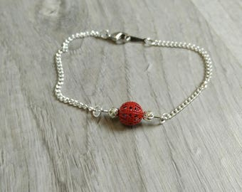 Silver plated with perforated red pearl bracelet