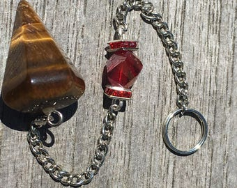 Unique Tigers Eye And Crystal Pendulum