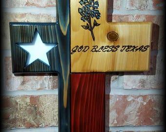 Stained Glass Bluebonnet Texas Flag Cross
