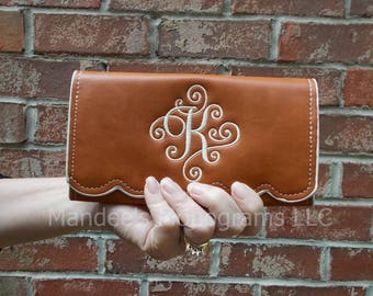 Monogrammed Scalloped Wallet, Personalized Scalloped Wallet, Monogrammed Scalloped Clutch, Personalized Scalloped Clutch