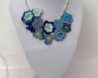 Crochet Bib Neclace and czech crystals in blue tones