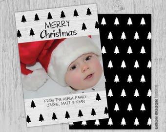 Merry Christmas Photo Card - Digital Download - Christmas Card Printable - Family Christmas Card - Winter Printable