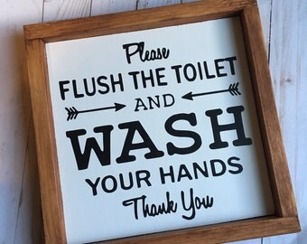 Bathroom wash your hands sign