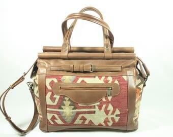 Boho Weekender Bag, Boho Travel Bag, Leather Weekender Bag, Large Kilim Bag