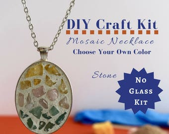 Do it Yourself Necklace Making Kit, Mosaic Necklace DIY kit gift for kids, Gifts Under 15, Necklace Craft Kit, Party Crafts, Crafty Kits 4 U