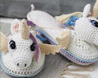 Unicorn, Slippers, Crochet Pattern, Girl Gift, Rainbow, Mermaid, Gift Ideas, PDF Download, Princess, Girls, Crochet Tutorial, Hannah Cross