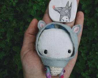 Doll boy, сute little  small toy , miniature strange , art doll gift animal, cute monster, little white textile alien, hand pain, dog toy