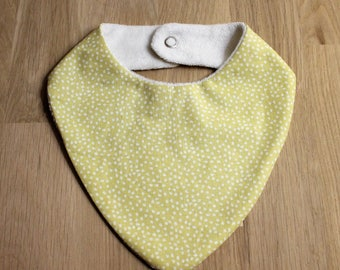 Teething bib, fabric baby bandana bib Terry organic bamboo, yellow with white dots