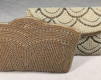 Beaded Clutch, Vintage, Gold Clutch, Ivory Clutch