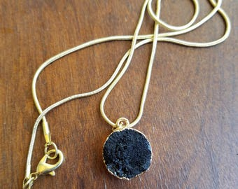 Petite Druzy Pendant With Gold Accents - TheHiddenBin
