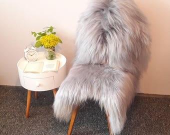Sheepskin Rug. Gray Icelandic Sheepskin. Natural Gray Island Lambskin Rug. Super Soft and Silky Long Hair. 120 cm long !