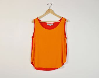 90s Minimal Tank Top, Color Block Tank Top, Vintage 90s Top, Orange Red Blouse, Loose Summer Blouse, Sleeveless Top, Gauzy Tank Top