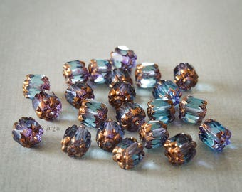 6mm, 10 Cathedrals czech beads, Czech glass, coppery, light blue, baroque style, faceted beads, glass beads, vintage, romantic
