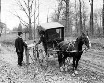 "1914 Horse Drawn Mail Wagon Vintage Photograph 13"" x 19"""