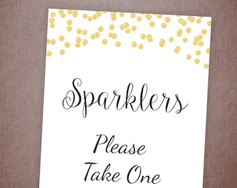 Sparklers Please Take One Sign Printable, Wedding Sparklers Sign, Gold Confetti Decor, Wedding Send Off, Instant Download, Table Sign, A001