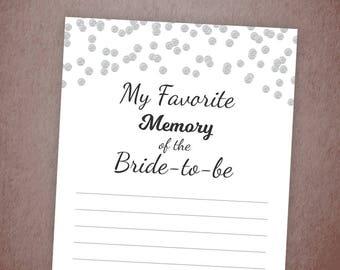My Favorite Memory of the Bride Printable Card, Silver Confetti Bridal Shower Games, Favorite Memories, Bachelorette, Wedding Shower, A003