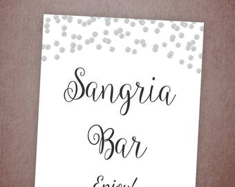 Sangria Bar Sign Printable, Silver Confetti Wedding Bar Sign, Sangria Drinks Sign Decor, Wedding Reception, Table Sign, Polka Dots, A003