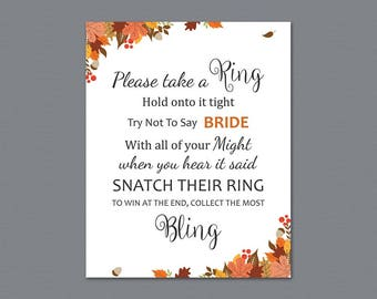 Don't Say Bride, Fall Autumn Bridal Shower Ring Game, Take a Ring, Bachelorette Party Games, Don't Say Bride Word Games, Leaves, A021