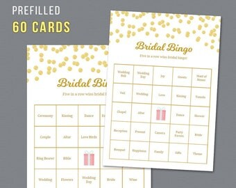 60 Prefilled Bridal Bingo Cards, Printable Bridal Shower Games, Bridal Words Bingo, Unique Pre-filled Bingo Cards and Calling Sheet, A002