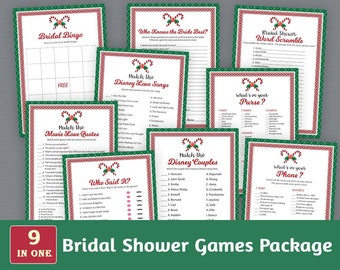 Bridal Shower Games Package, Set, Pack, Bundle, Disney Love Songs, Couples, Bingo, Who Knows Bride Best, Phone, Purse, She Said, BSPKG, A024