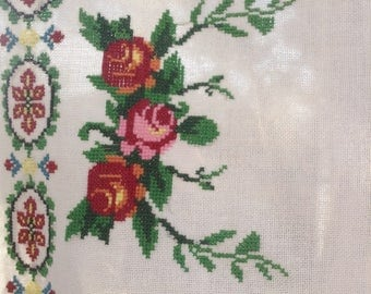 Cross Stitch Roses Table Topper