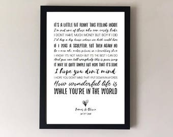 Your song, song lyrics print, elton john, ellie goulding, wedding song, first dance anniversary gifts wedding gift gift for husband for wife