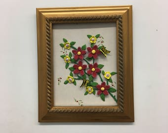 Frame with red flowers