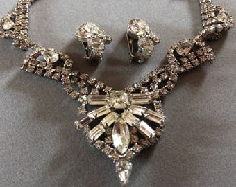 Stunning Weiss Rhinestone Necklace and Earrings Demi Parure