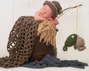 Newborn Fishing Prop Set, Fishing Hat, Crochet Fishing Set