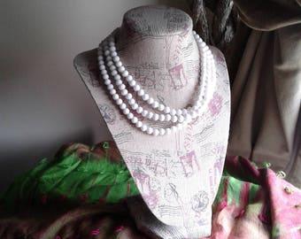 Three Strand Beaded Pearl Necklace