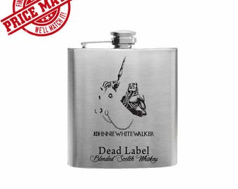 Johnnie White Walker // Engraved Flask //His Gift  // Funny Flask //  Game of Thrones  // Hip Flask for Men // 21st Birthday Gift // 7 oz