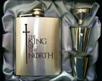 King Of The North Game of  Thrones // Engraved Flask // His Gift  // Party // Funny Flask // Hip Flask for Men // 21st Birthday Gift // 7 oz
