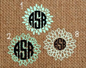 Circle Flower Monogram, Circle Monogram, Flower Yeti Monogram, Car Window Decal