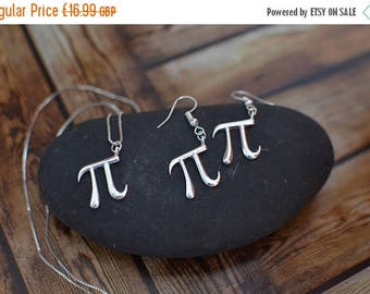 AugSale20 Silver Plated Pi Earring, Dangle Drop Earring, Pi Earring, Pi Necklace, Pi Math Earring, Pi Earring Necklace, Math Gifts, Math Pi