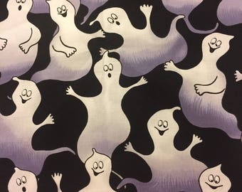Halloween Fabric Ghosts Cotton By The Yard 36 Inches Long DOES NOT GLOW In The Dark