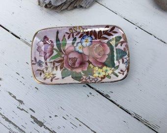 Vintage Maling Pottery pin dish Rosalind pattern