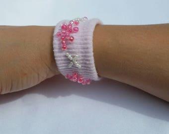 upcycled bracelet, cuff bracelet, pink bracelet, stretch bracelet, gift for girl, gift for her