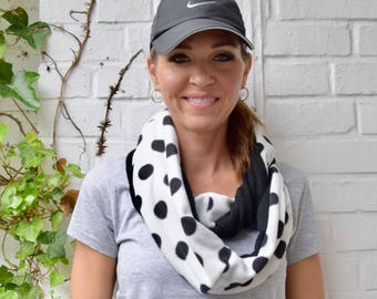 Sucker for Polka Dots Eternity Scarf with Fleece Blend Black and White Polka Dots and Black Knit