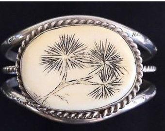 Zuni Milton Honawa Signed Dandelion Bone Scrimshaw Sterling Silver Cuff