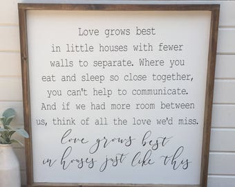 Love Grows Best | Framed wood sign | in little houses like this | Farmhouse | Rustic | housewarming | home sweet home