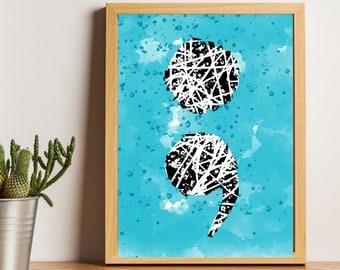 Semicolon, Wall Print, Wall Art Printable, Watercolor, Downloadable Art, Blue Print, Printable Art, Minimalist Wall Art, Printable Abstract