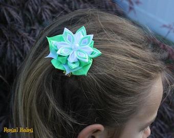 Hair Clips, Flower Girl, Wedding, Party, Kanzashi Flower Hair Clip, Accessories, Baby Shower, Hair Clip, White, Green, and Blue, Girl Clip,