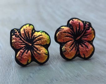 Dichroic Fused Glass Stud Earrings -  Pink Yellow Hibiscus Flower Laser Engraved Etched Stud Earrings with Solid Sterling Silver Posts