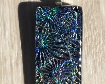 Dichroic Fused Glass Pendant - Purple Blue Starburst Texture Pendant