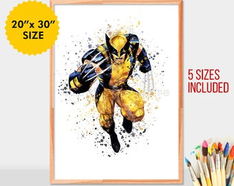 Xmen Wolverine, Watercolor Superhero, Wolverine Art, Wolverine Poster, Nursery Watercolor Painting