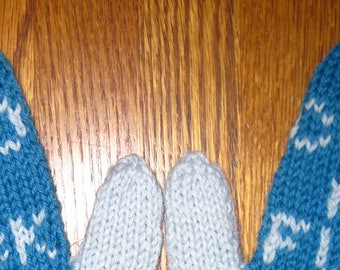 Cold as F**k Mittens Hand Knit Aqua Blue Wool Womans Mittens Free US Shipping