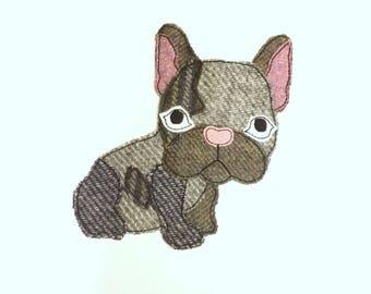 French Bulldog Raw Edge Appliqué, Machine Embroidery Design